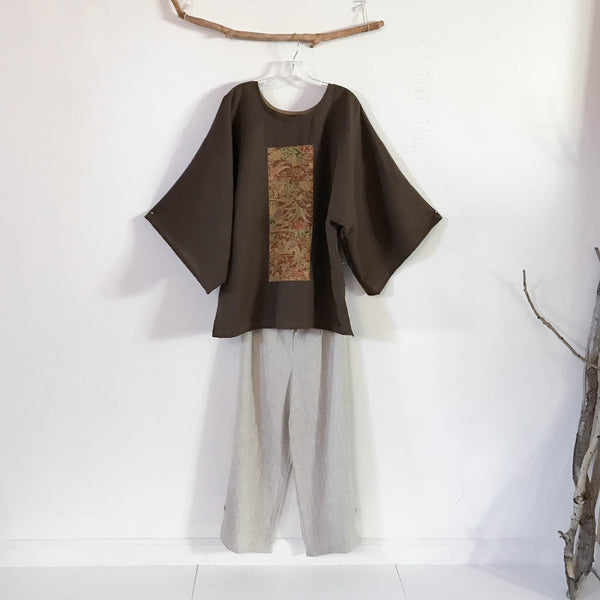 over size brown linen kimono motif top ready to wear