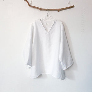 custom V neck linen blouse made to measure listing - linen clothing by anny