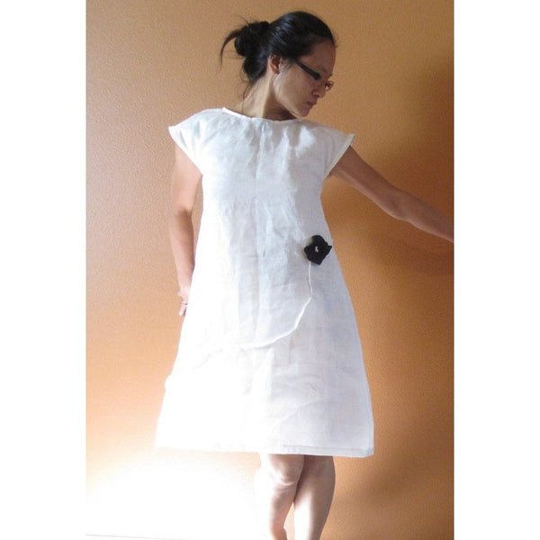 Custom white linen dress with black flower-linen clothing by anny