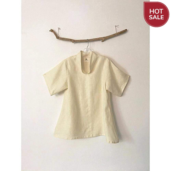 ready to wear cream linen short sleeve blouse size M