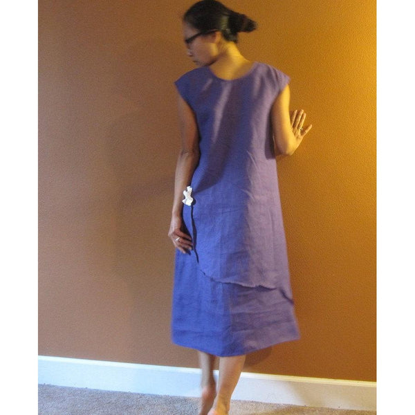 custom pleated flowers long length linen dress