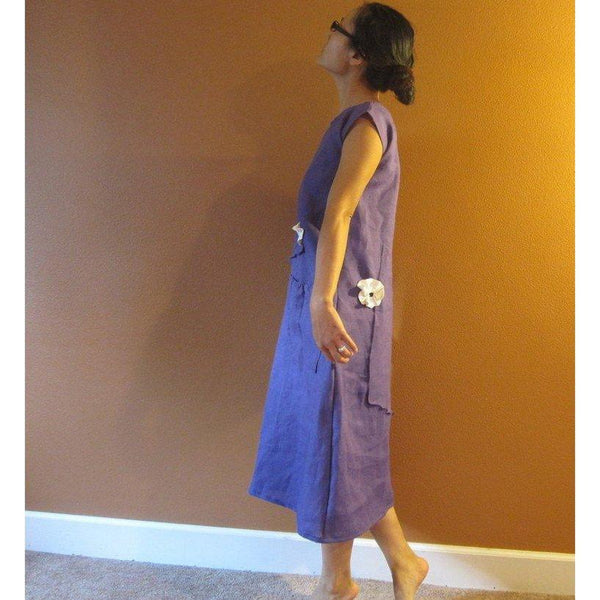 custom pleated flowers long length linen dress-linen clothing by anny