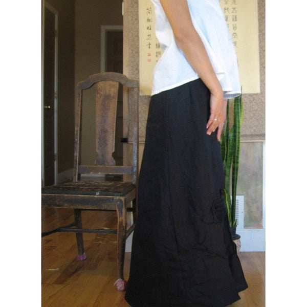 custom heavy weight linen rose tucks wide leg pants-linen clothing by anny