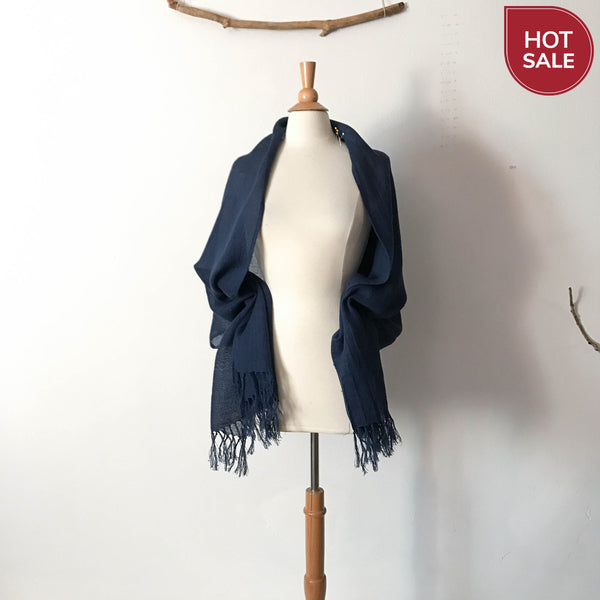 moon on navy blue linen dress with  deep blue linen shawl scarf ready to wear