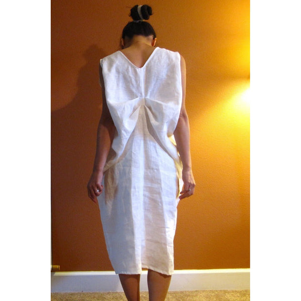 custom two folds white linen dress
