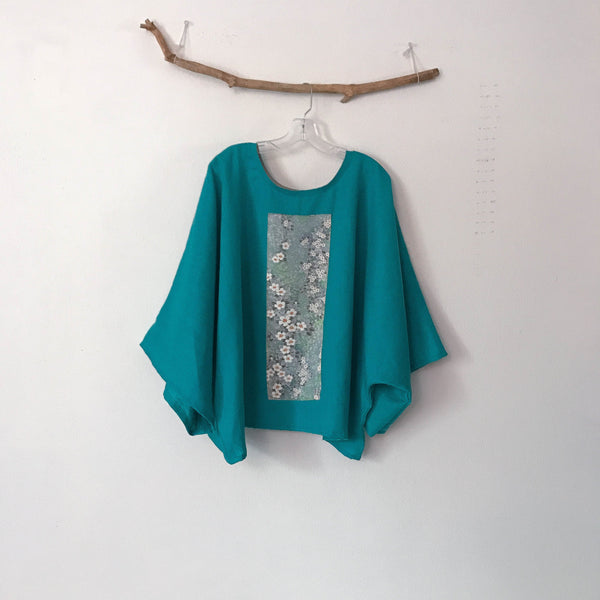 made to order oversized turquoise linen top with vintage kimono panel
