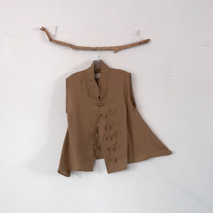 ready to wear short length ginger linen vest Size M