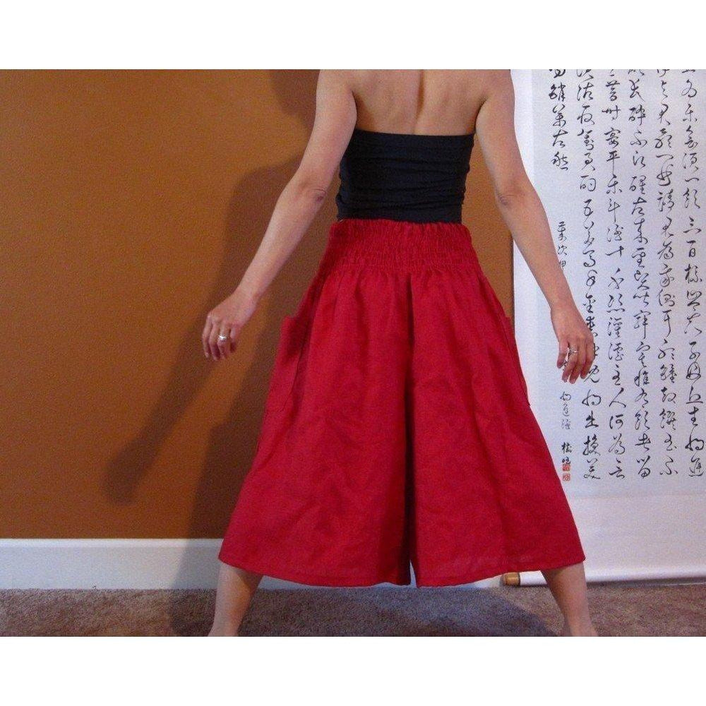 smocked waist wide leg linen gaucho pants made to order-linen clothing by anny