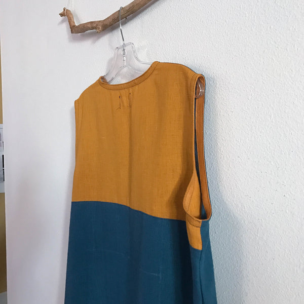 sleeveless V neck bonnot and autumn gold linen dress ready to wear