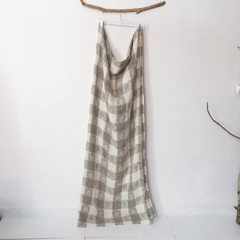 handmade double sided check print heirloom like style woven linen throw