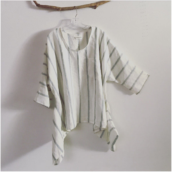 Lagenlook soft stripy linen top oversized made to order