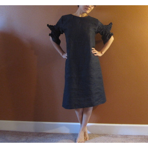 custom smocked spiky sleeves linen dress