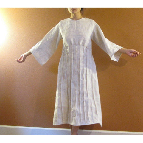 custom fan pleats linen dress-linen clothing by anny
