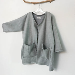 ready to wear oversized light gray brushed fur wool coat jacket with two pockets