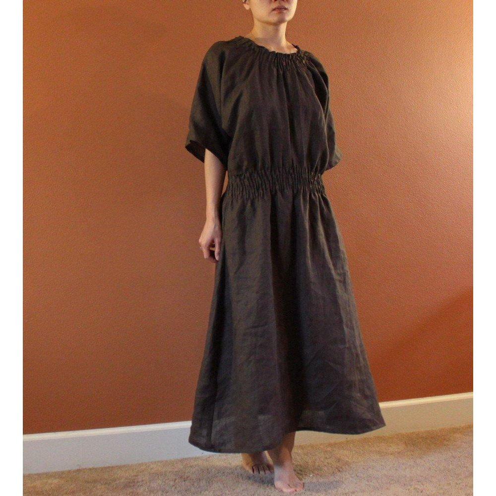 custom smocked linen dress - linen clothing by anny