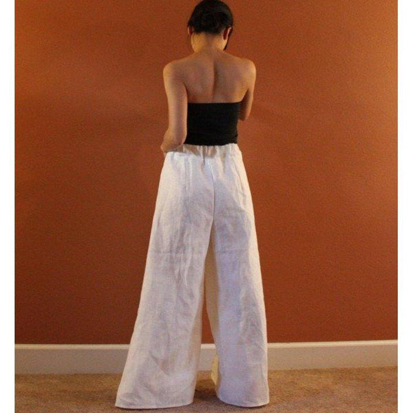 custom mid weight linen rose tucks  wide leg pants - linen clothing by anny