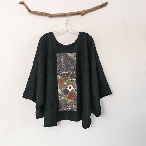 oversized  wrinkled black wool top with vintage kimono panel ready to wear