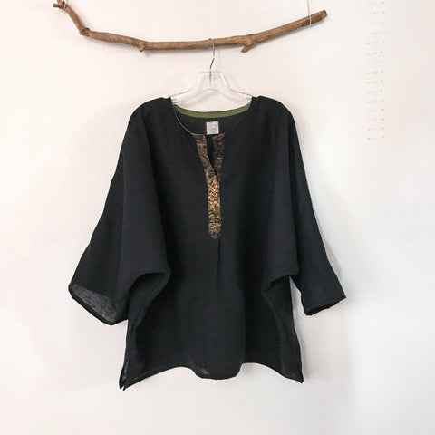 made to order oversized black linen top with kimono motif front placket trim