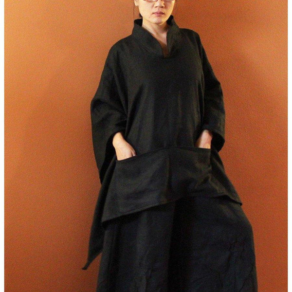 custom heavy linen swallow poncho coat with big pockets