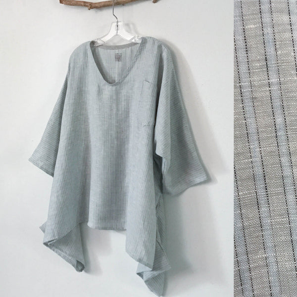 Lagenlook soft pinstripy linen top oversized made to order