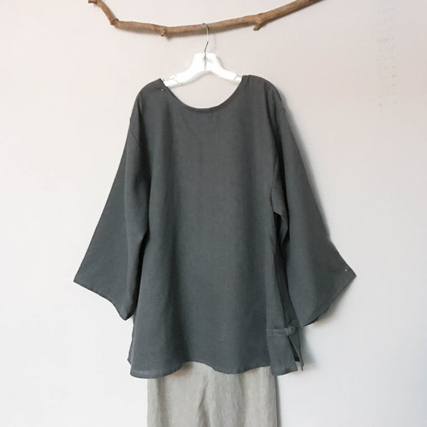 custom linen Asian style blouse with rounded neckline