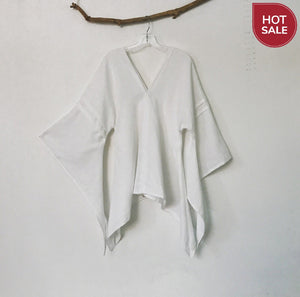 Ready wear white SWALLOW linen top with fairy sleeves size M