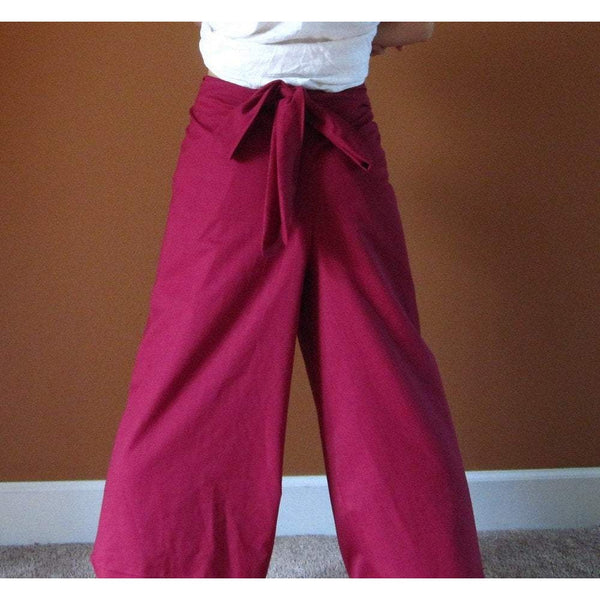 "cotton wrap around pants fit waist 36"" and under / made to order / cotton wrap pants / women clothing / burgundy wrap pants / vintage wrap /"