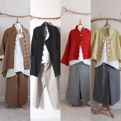 ready wear jacket or vest with frog toggles / link to  custom frog toggle linen vest, jacket, coat, outfit