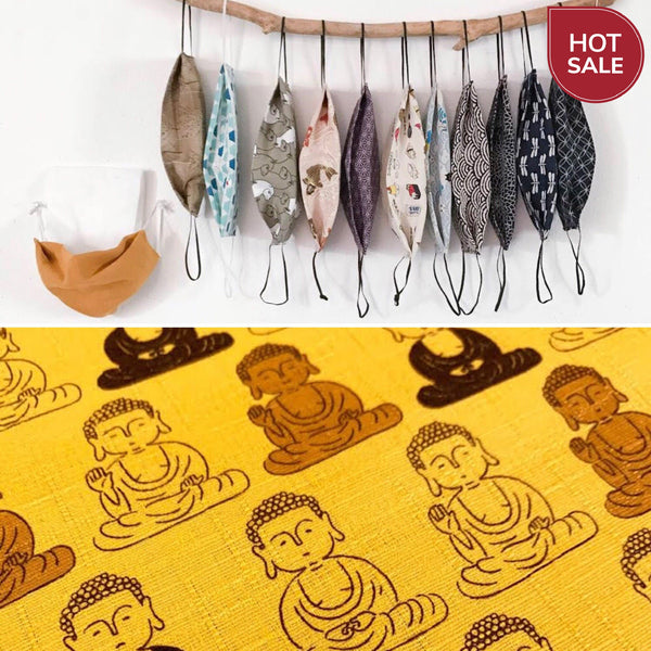 eco washable face cover with pocket for insert / aluminum nose strap / buddha print /  dust mask / allergy mask  / eco mask / face cover /