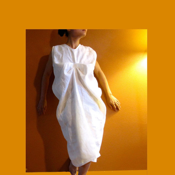 custom two folds white linen dress-linen clothing by anny