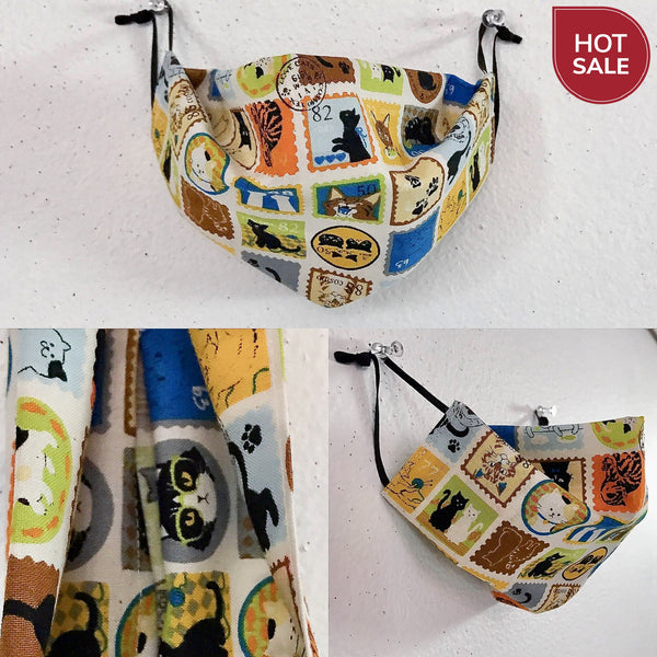 eco washable face cover with pocket for insert /  aluminum nose strap / dust mask / allergy mask / geisha / kokeshi doll / cat stamp