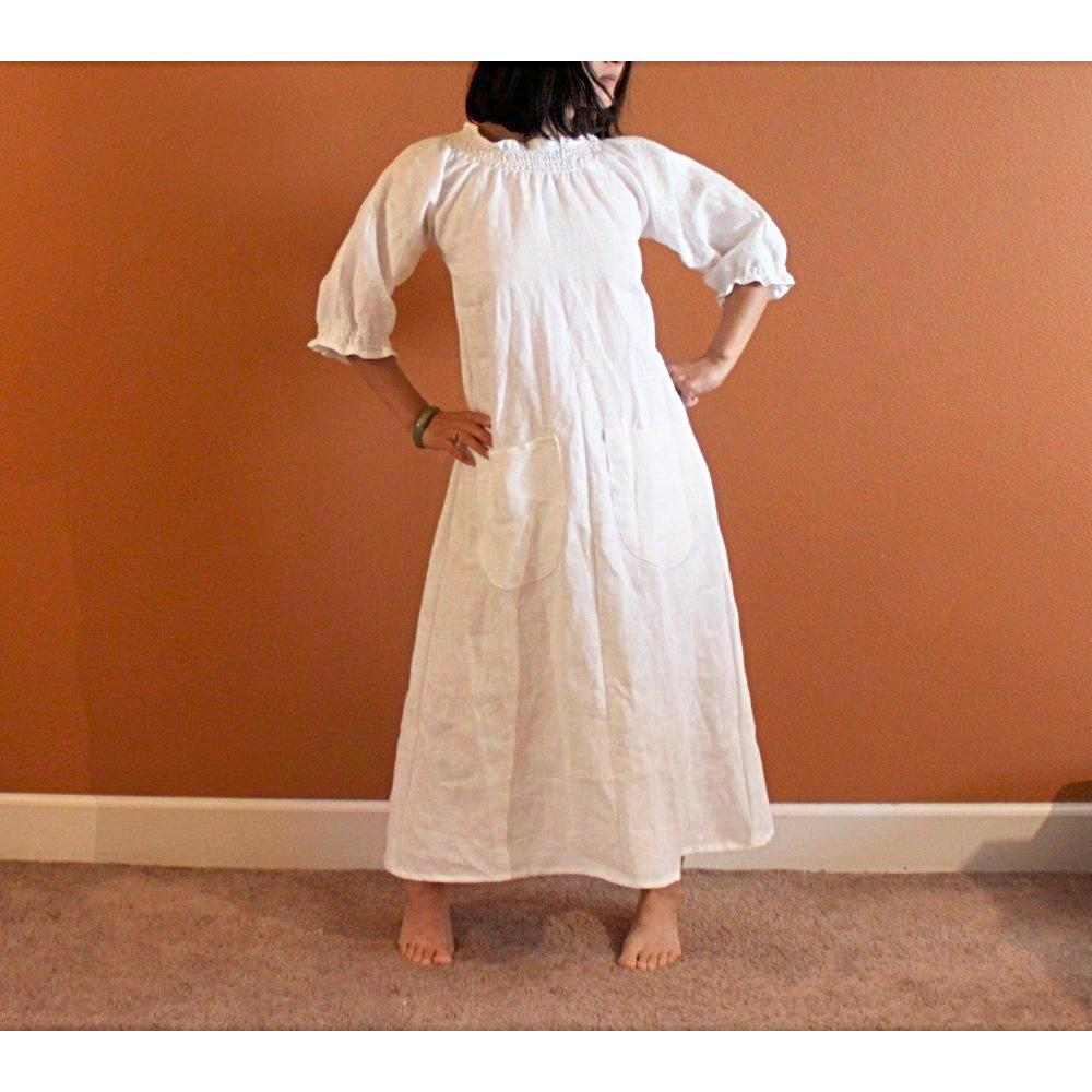 custom shirred linen dress - linen clothing by anny
