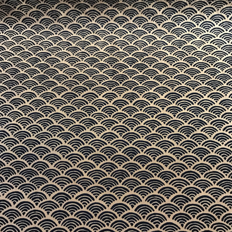 small wave geo Navy homespun cotton fabric