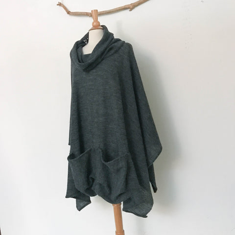 ready wear cowl collar dark gray sweater knit wool swallow poncho with big pockets