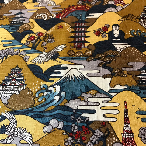 yellow large buddha mountain dobby cotton fabric made in Japan