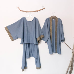 custom small wave denim outfit top, harem pants and haori jacket made to order listing