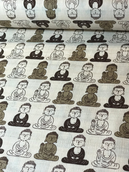 Cream buddha statues dobby cotton fabric made in Japan