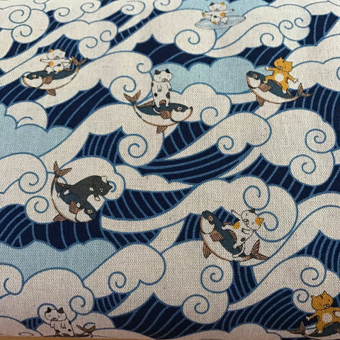 surfing cats waves canvas cotton fabric made in Japan