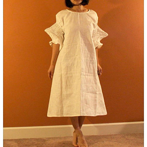 custom smocked spiky sleeves linen dress - linen clothing by anny