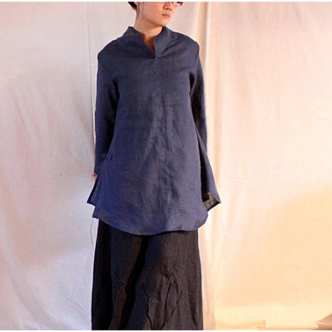 custom Asian linen blouse handmade for all sizes - linen clothing by anny