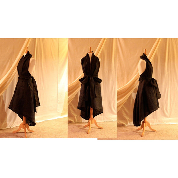 custom black linen chic low cut halter dress with obi sash - linen clothing by anny
