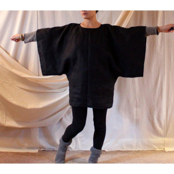 heavy linen wide kimono sleeve top made to fit listing