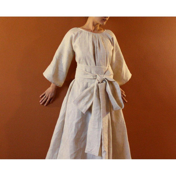 custom bridesmaids linen pleated obi dress-linen clothing by anny