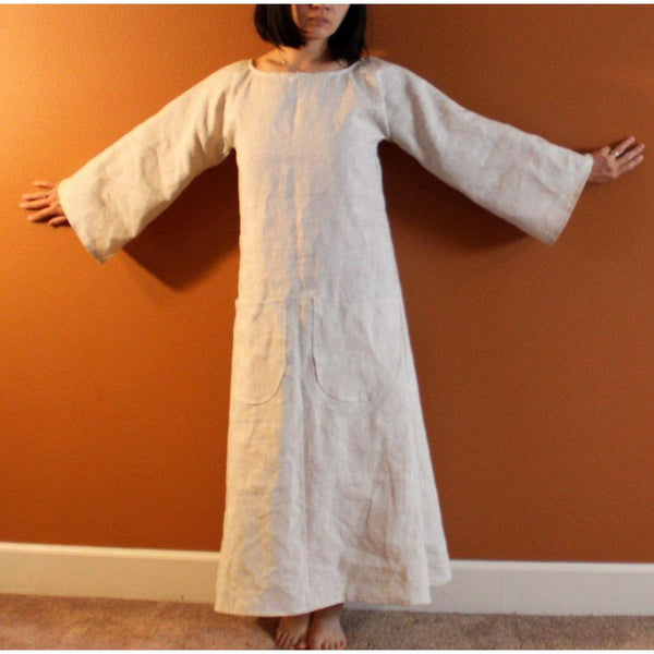 custom bell sleeve A line linen dress - linen clothing by anny