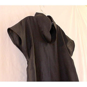 custom heavy linen capped sleeve high collar tunic top-tunic-linen clothing by anny