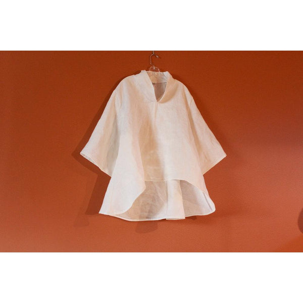 plus size chipao collar heavy linen blouse