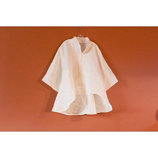 plus size chipao collar heavy linen blouse-blouse-linen clothing by anny