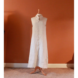 custom linen chipao collar sleeveless dress-linen clothing by anny