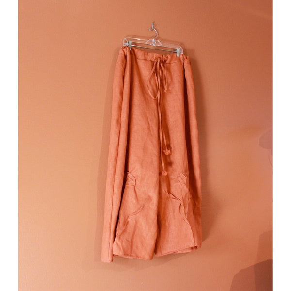 custom drawstring linen rose tucks wide leg pants - linen clothing by anny