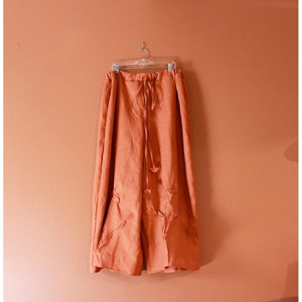 custom drawstring linen rose tucks wide leg pants-linen clothing by anny